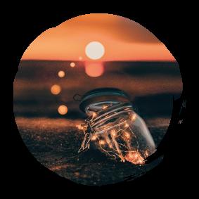 jar and sunset